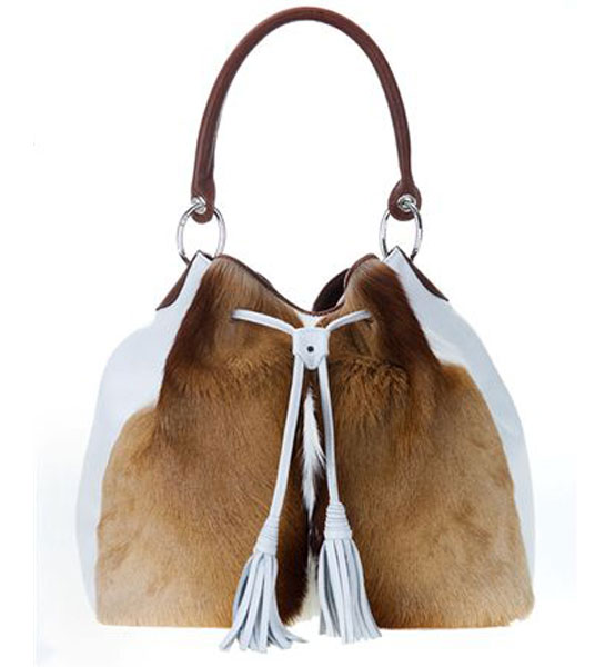 Ice White Jabulani Bag In Natural Springbok Fs Jab005
