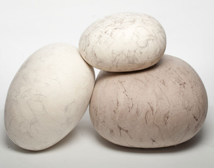 Felted Rock Cushions And Ottoman FLCM, FLCL, FLCOT Cream U0026 Sand