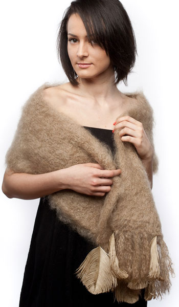 dd8aa408 Mohair scarf, fluffy knit with single feather trim, camel, AM-009